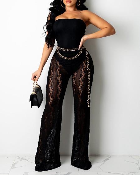 Beadeau Crochet Lace Patch Sheer Mesh Skinny Jumpsuit
