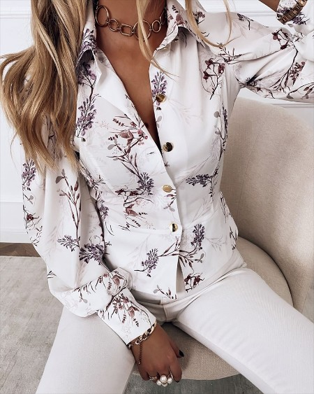 Floral Print Lantern Sleeve Button Up Top