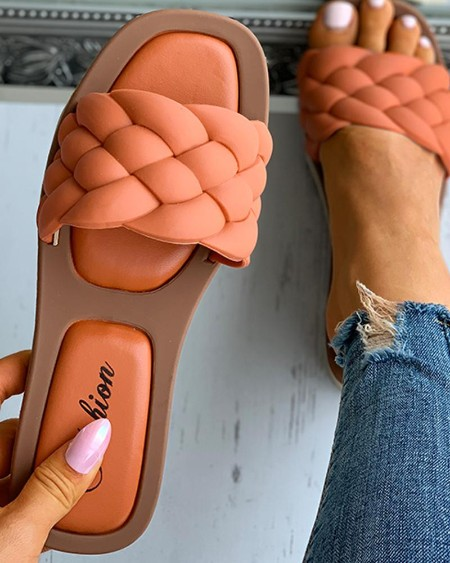 Braided Square Toe Casual Flat Sandals