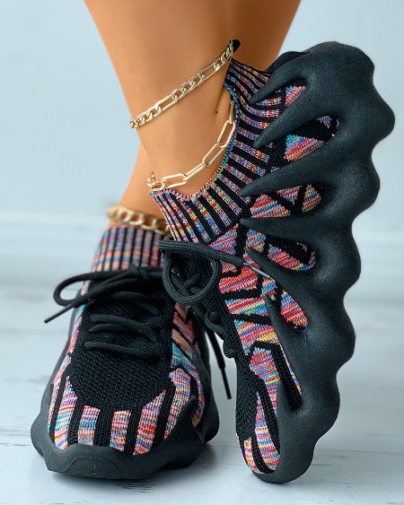Colorblock Lace-up Knit Breathable Sneakers