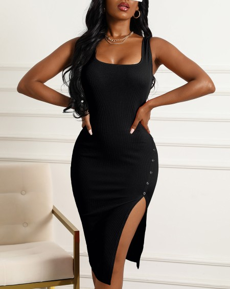 Button Design Plain Sleeveless Slit Dress