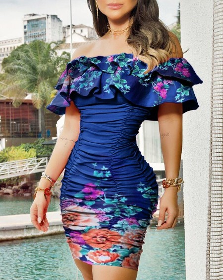 Skinny Off shoulder Floral Print Ruffles Ruched Dress Slim Bodycon Dress Party Dress