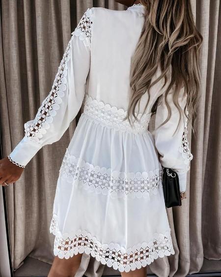 Hollow Out Plain Long Sleeve Shirt Dress