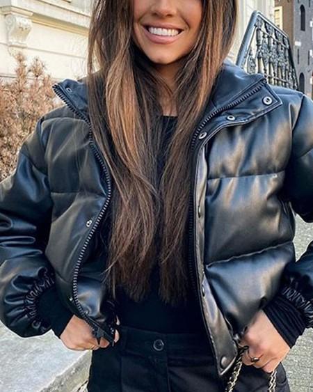 Long Sleeve Snap Button Zip Up Puffer Coat