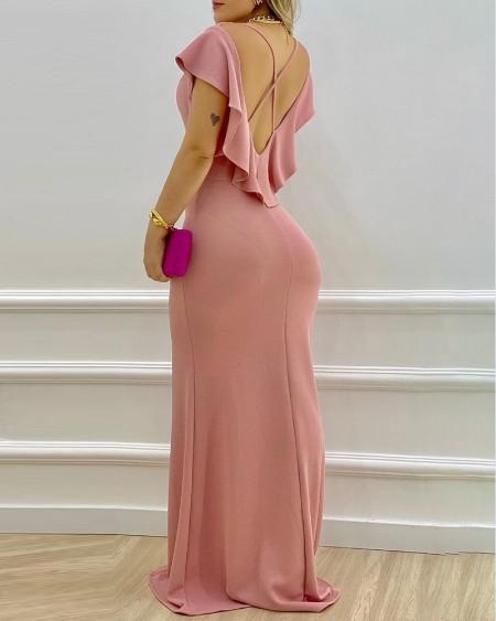 Ruffle Sleeve High Slit Crisscross Backless Maxi Dress