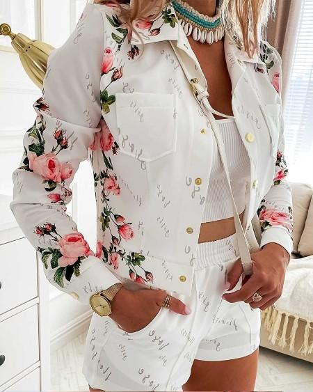 Floral Print Long Sleeve Blouse & Shorts Set