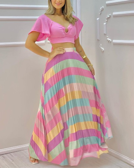 Plain V-neck Short Sleeve Top & Colorful Maxi Skirt Sets