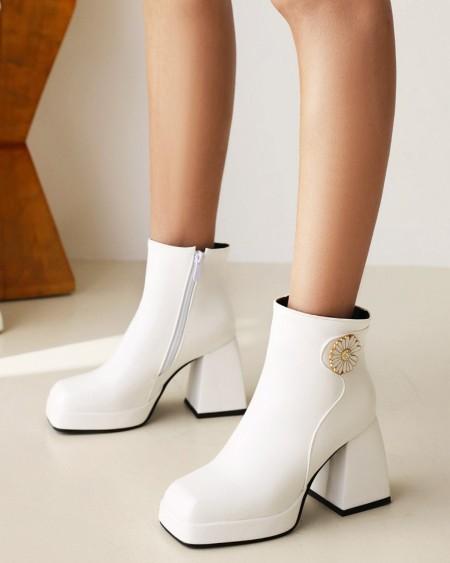 Womens Daisy Decoration Square Toe Wax Finish High Heel Boots