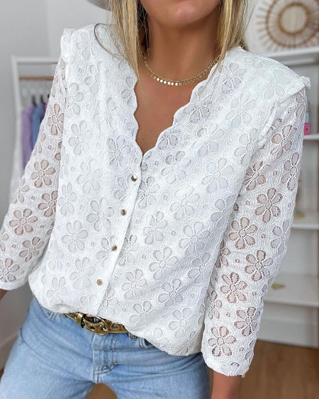 Button Design Floral Pattern Lace Casual Top