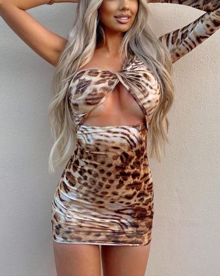Leopard Print One Shoulder Cutout Twist Bodycon Dress