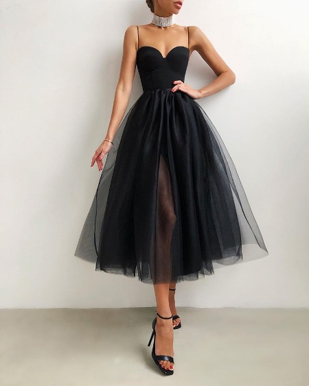Spaghetti Strap Plain Sheer Mesh Evening Dress Bodycon Dress Party Dress for Women