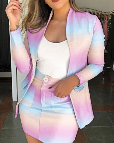 Ombre Print Open Front Flap Detail Blazer & Mini Skirt Set