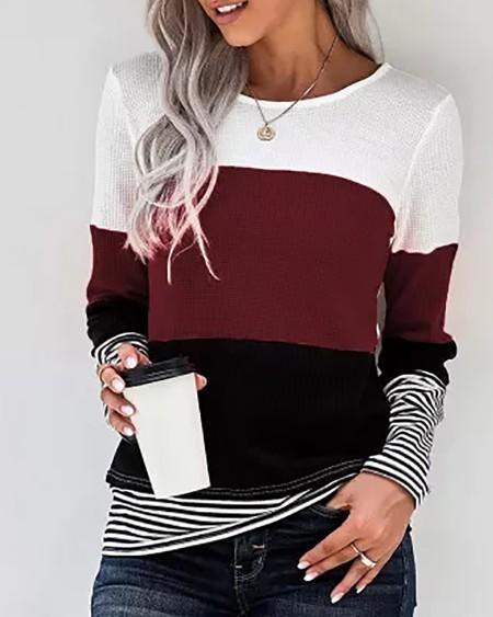 Striped Print Colorblock Long Sleeve Top