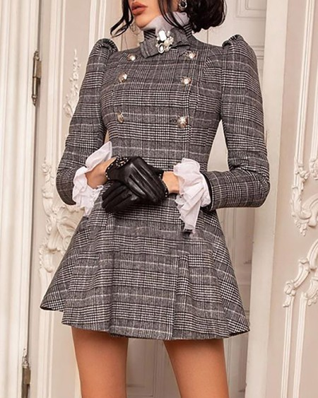 Plaid Puffed Sleeve Ruffles Dress
