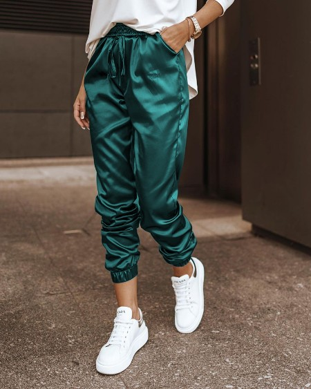 High Waist Drawstring Pocket Design Satin Pants