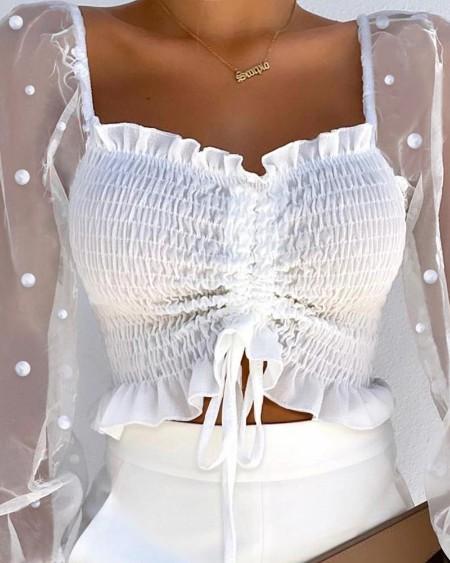 Beaded Contrast Mesh Flounce Sleeve Frill Hem Drawstring Shirred Crop Top