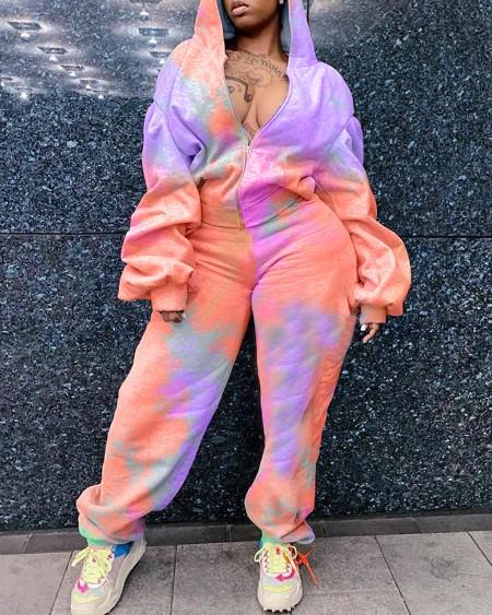 Tie Dye Print Zipper Design Hooded Top & Pants Set