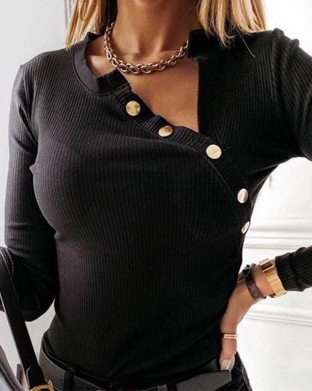 Long Sleeve Button Decor Top
