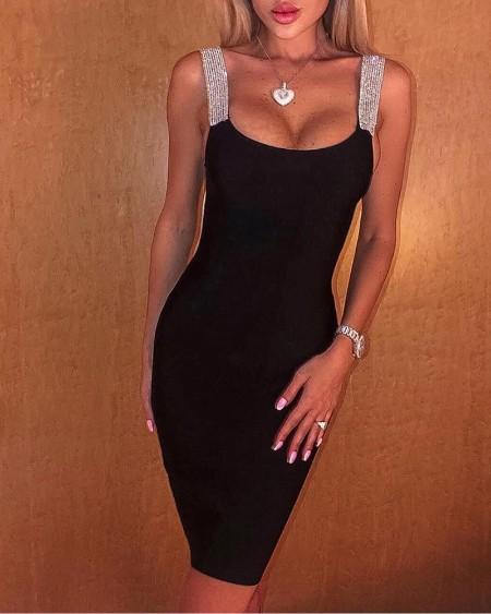 Glitter Strap U-Neck Skinny Party Dress