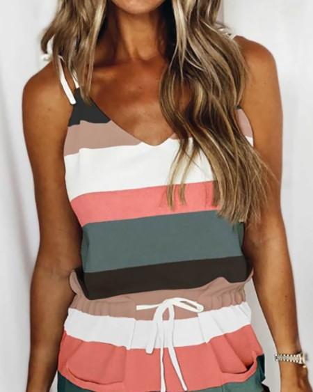 Striped Print Colorblock Drawstring Casual Dress