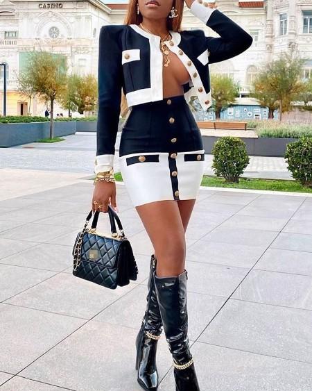 Colorblock O-Neck Coat & Buttoned Skirt Set