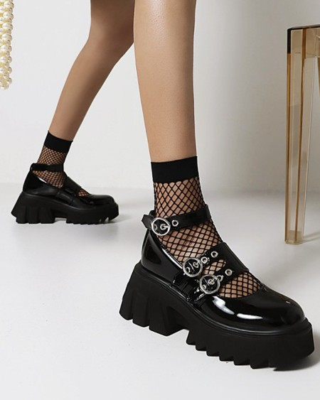 Womens Vintage Round Toe Shiny Finish Hollow-out Platform Shoes