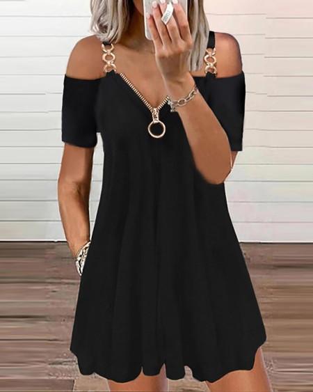 Cold Shoulder Chain Strap Zipper Design Dress