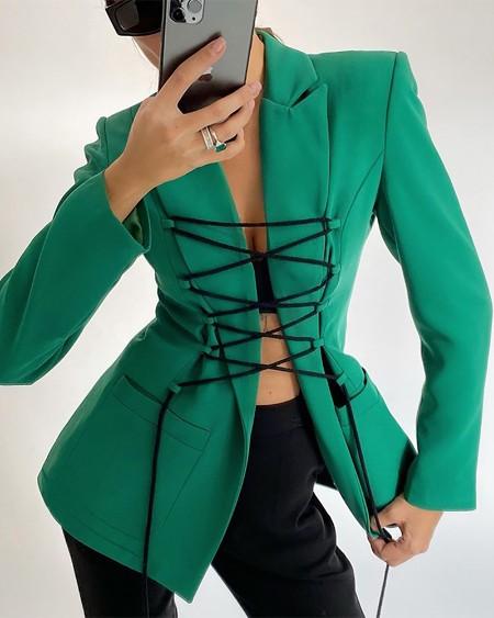 Lace Up Pocket Decor Long Sleeve Blazer Coat