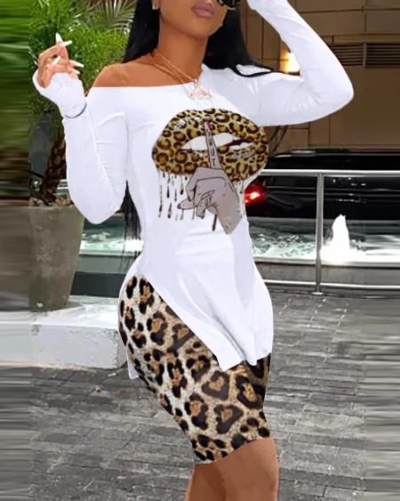 Lip Slogan Print Long Sleeve Slit Top & Cheetah Print Shorts Set