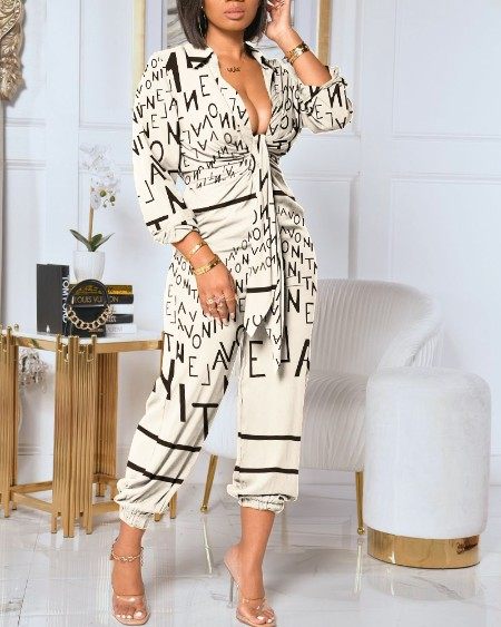 Letter Print Collared Plunging Neck Tie Front Ruched Jumpsuit