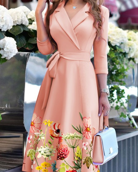 Floral Print Long Sleeve Tied Detail Flared Dress