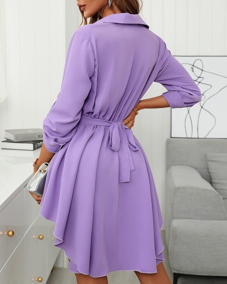 Long Sleeve Button Design Shirt Dress