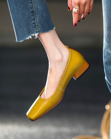 Square-toe Solid Color Hollow-out PU Leather Loafers