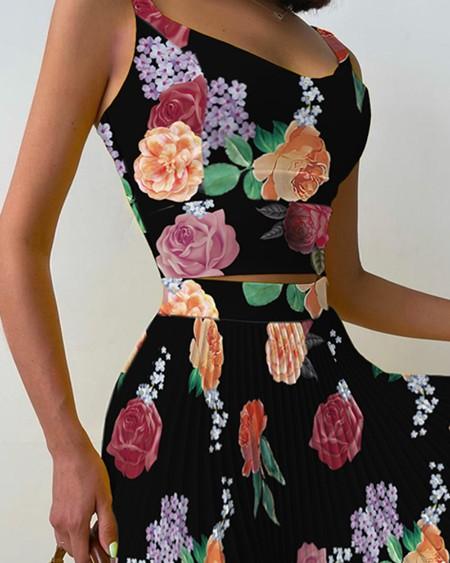Floral Print Tank Top & Pleated Skirt Set
