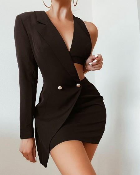 Solid Double Button Cut-Out Asymmetrical Blazer Dress
