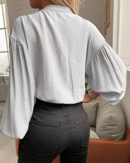 Lantern Sleeve Zipper Design Casual Top