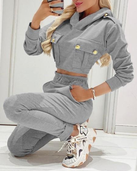 Hooded Button Decor Top & Pocket Design Pants Set