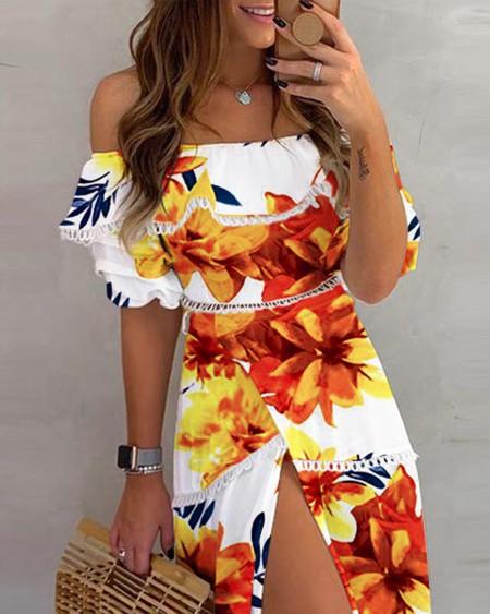 Off Shoulder Lace Floral Print Slit Dress