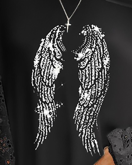 Angle Wings Print Eyelet Embroidery Top