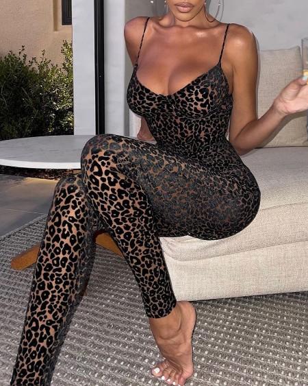 Cheetah Print Spaghetti Strap V neck Jumpsuit