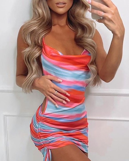 Satin Colorblock Cutout Ruched Bodycon Dress