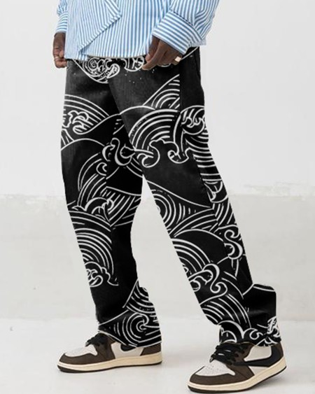 Abstract Print Hip-hop Wide Legs Trousers