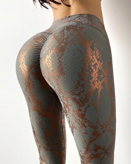 Snakeskin Print Bronzing High Waist Butt Lifting Tummy Control Yoga Pants