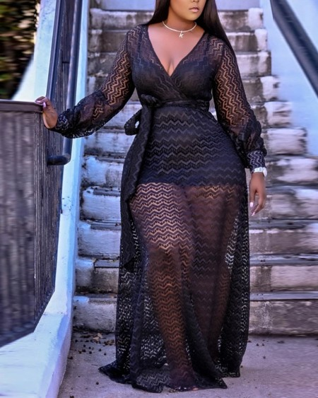 Halter Bodycon Dress With See Through Mesh Belted Maxi Dress