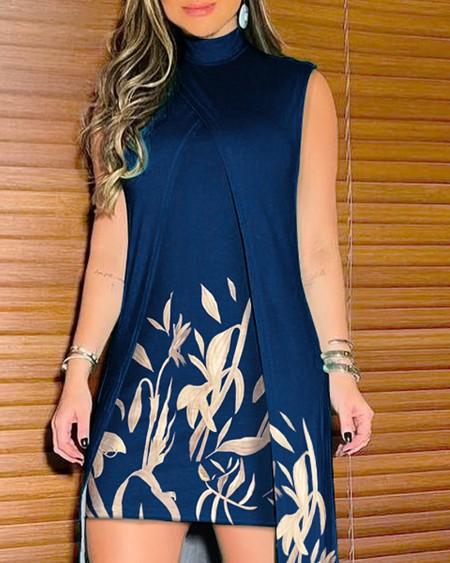 Smoking Leaf Print Fake Two-Piece High Neck Asymmetrical Dress Sleeveless Daily Print Dress
