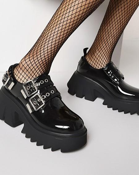 Chic Womens Straps Decor Round Toe Shiny Finish Platform Shoes