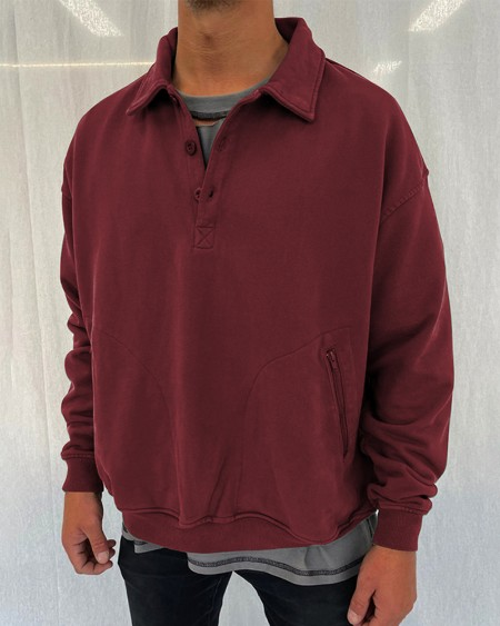 Solid Color Long Sleeve Sweatshirt Polo Shirt