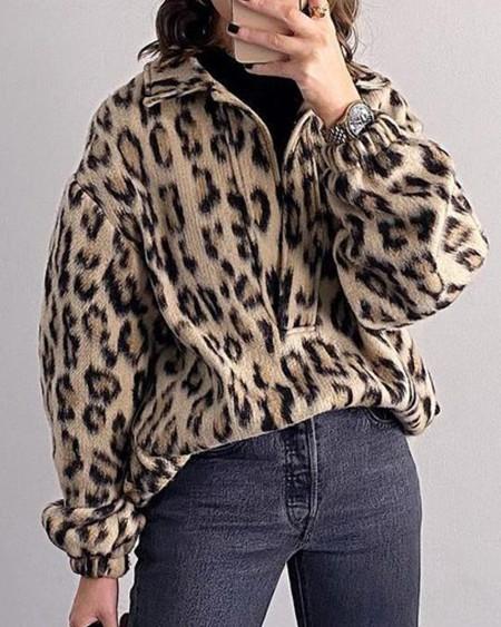 Leopard Print Long Sleeve Sweatshirt