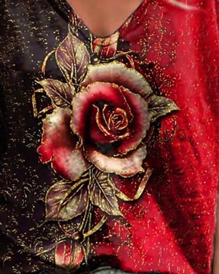 Floral Print Colorblock V Neck Short Sleeve T-Shirt