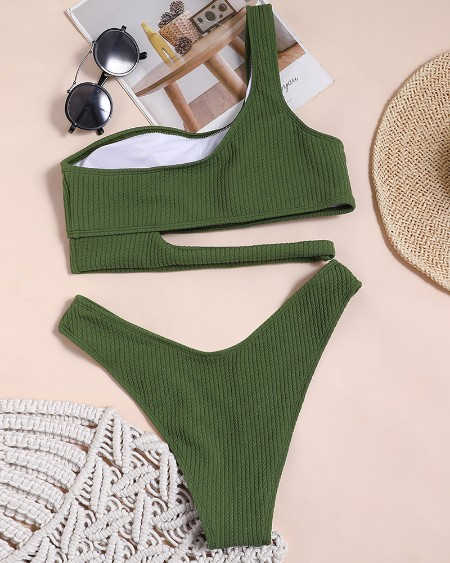 One Shoulder Plain Cutout Sleeveless Bikini Sets